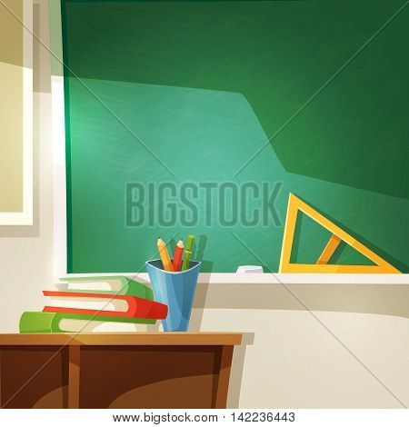 Classroom Cartoon Background. School Lesson Vector Illustration.  Education Design.Classroom Decorative Illustration.
