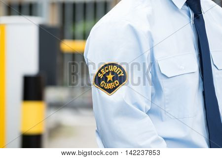 Close-up Of A Male Security Guard In Uniform