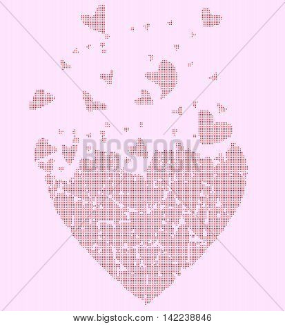 A large heart made up of several smaller halftone hearts flying away against a pink background