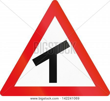 Road Sign Used In The African Country Of Botswana - Skewed T-junction
