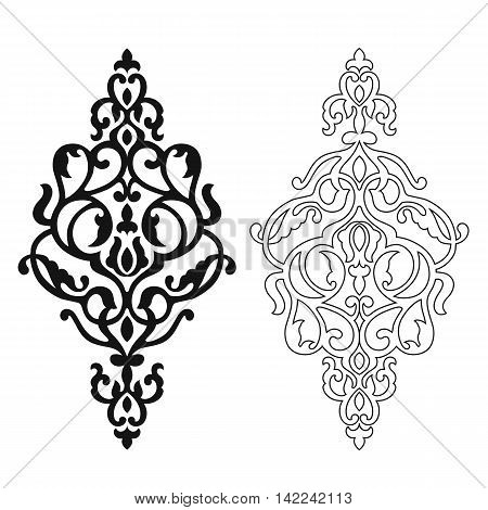 Damask pattern, damask tattoo, damask element, damask ornate, damask ornament, damask silhouette. Vector.