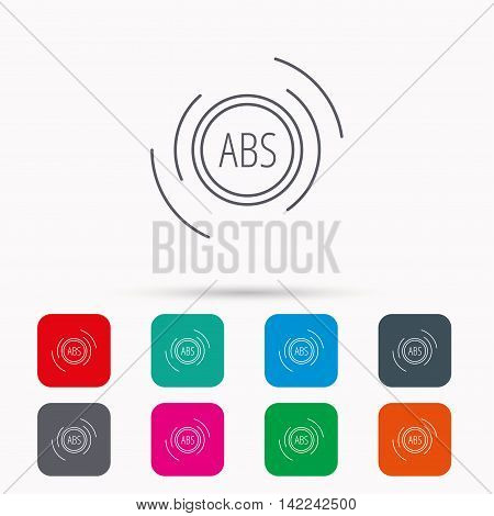 ABS icon. Brakes antilock system sign. Linear icons in squares on white background. Flat web symbols. Vector