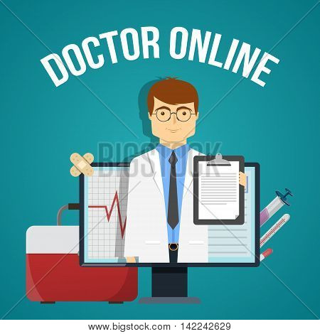 Doctor online design with friendly practitioner in computer and medical objects on blue background vector illustration