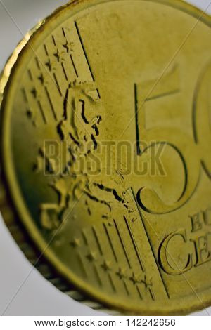 coin 50 euro cents macro fifty Europe