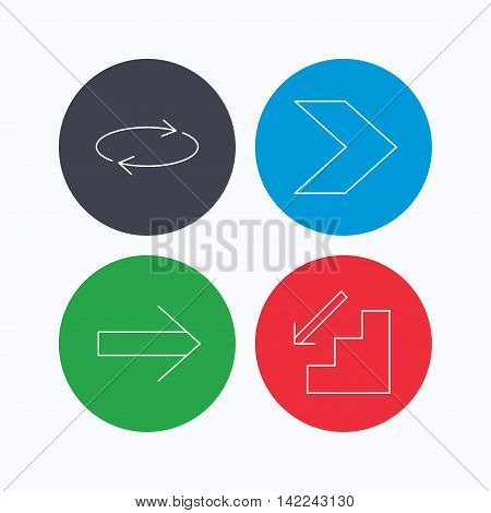 Arrows icons. Downstairs and repeat linear signs. Next arrow flat line icons. Linear icons on colored buttons. Flat web symbols. Vector