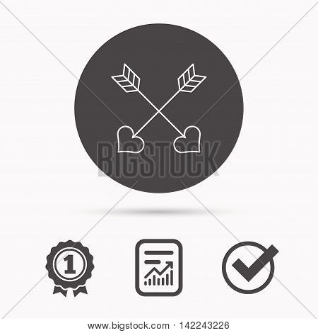 Love arrows icon. Amour equipment sign. Archer weapon with hearts symbol. Report document, winner award and tick. Round circle button with icon. Vector
