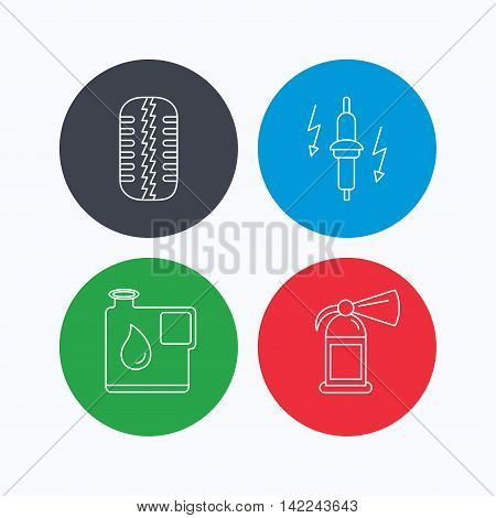 Wheel, fire extinguisher and spark plug icons. Fuel jerrycan, tire tread linear signs. Linear icons on colored buttons. Flat web symbols. Vector
