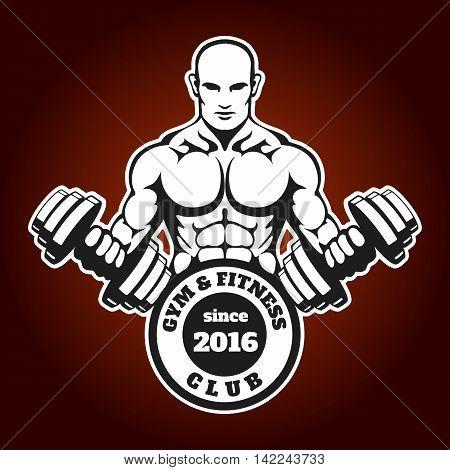 Bodybuilder with dumbbells. Weightlifting athlete gym fitness club emblem or label.