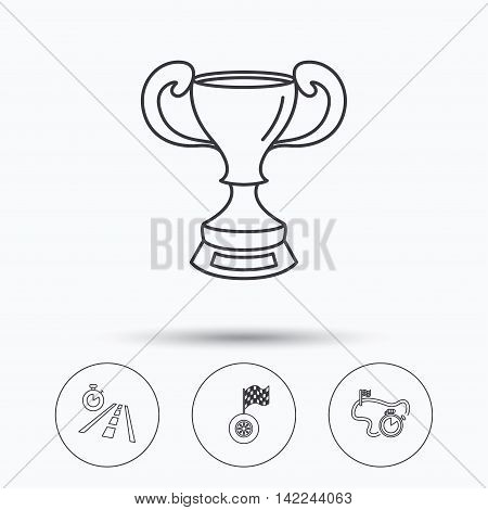 Winner cup, race timer and flag icons. Travel time linear sign. Linear icons in circle buttons. Flat web symbols. Vector poster