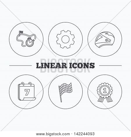 Race flag, motorcycle helmet and award medal icons. Start or finish flag linear sign. Flat cogwheel and calendar symbols. Linear icons in circle buttons. Vector