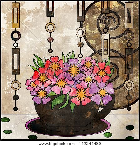 Tea background with cup and flowers. Pattern in vintage grunge style for menu wallpaper retro colors