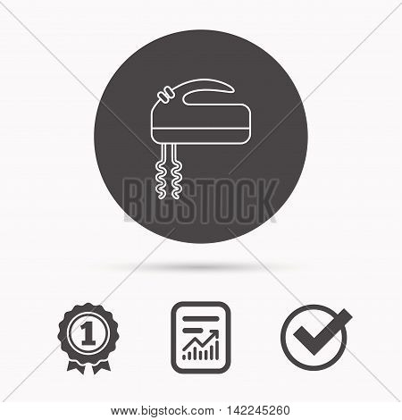 Blender icon. Mixer sign. Report document, winner award and tick. Round circle button with icon. Vector