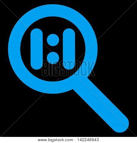 Zoom Actual Scale vector icon. Style is outline flat icon symbol, blue color, black background.