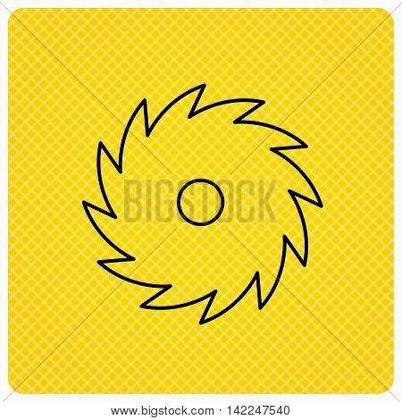Circular saw icon. Cutting disk sign. Woodworking sawblade symbol. Linear icon on orange background. Vector