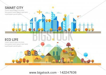 Autumn - Smart City & Ecology village. Horizontal banners.