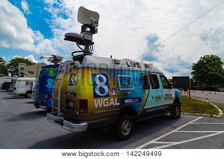 Lancaster PA - August 9 2016: WGAL TV 8 News van parked at the Governor Mike Pence political rally.