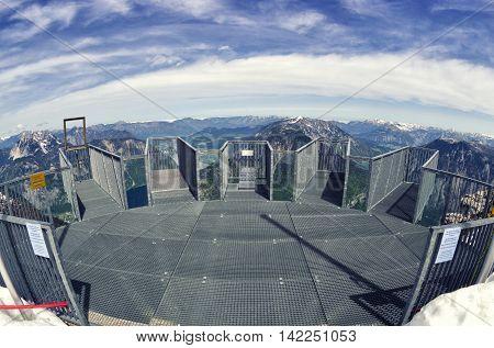 Empty Five Fingers Viewing Platform In Alps, Dachstein. Fisheye Lens View.