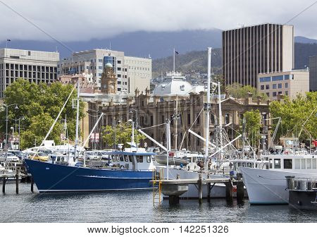 The view of marina and Hobart downtown (Tasmania).