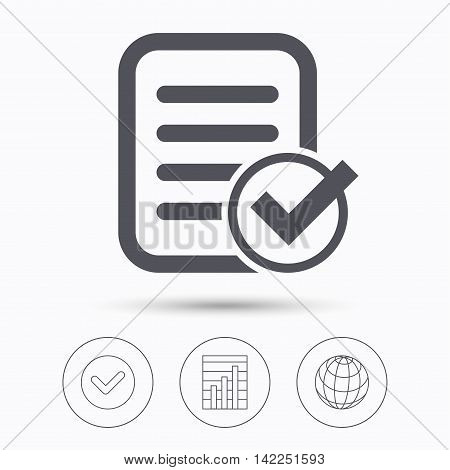 File selected icon. Document page with check symbol. Check tick, graph chart and internet globe. Linear icons on white background. Vector