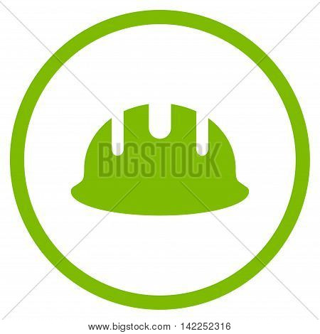 Builder Hardhat vector icon. Style is flat rounded iconic symbol, builder hardhat icon is drawn with eco green color on a white background.