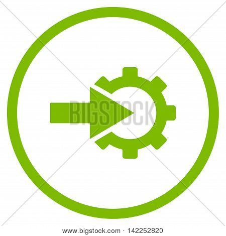 Cog Integration vector icon. Style is flat rounded iconic symbol, cog integration icon is drawn with eco green color on a white background.
