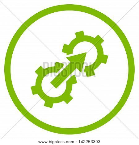 Gear Integration vector icon. Style is flat rounded iconic symbol, gear integration icon is drawn with eco green color on a white background.