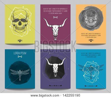 Vector Set Of Modern Posters With Human Skulls, Bull Skulls, Dragonflies, Geometrical Shapes. Trendy