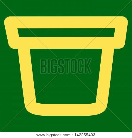 Pail vector icon. Style is linear flat icon symbol, yellow color, green background.