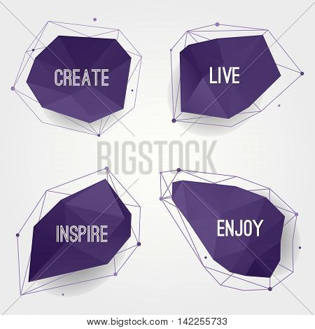 Vector set of abstract modern crystal shapes with lines and circles. Can be used as labels bubbles for website infographic banner. Inspirational and motivational text. Hipster design.