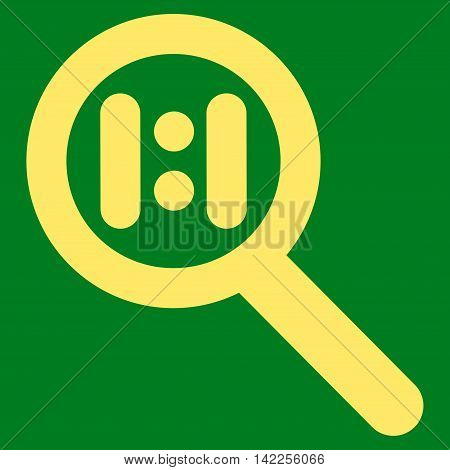 Zoom Actual Scale vector icon. Style is contour flat icon symbol, yellow color, green background.
