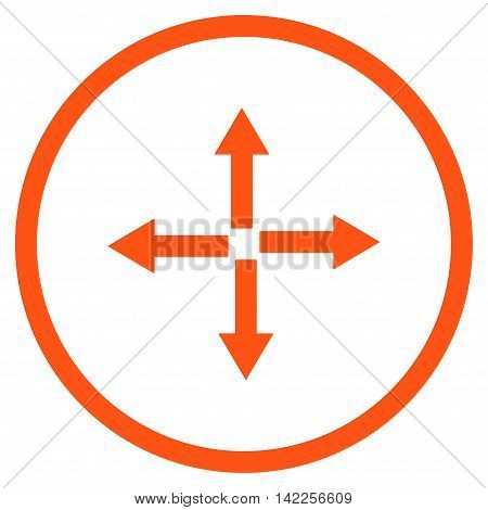 Expand Arrows vector icon. Style is flat rounded iconic symbol, expand arrows icon is drawn with orange color on a white background.