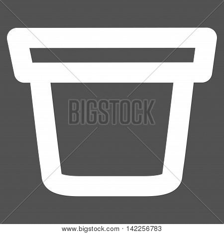 Pail vector icon. Style is outline flat icon symbol, white color, gray background.
