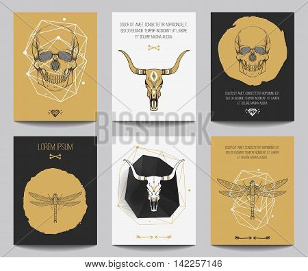 Vector set of gothic posters with human skulls bull skulls dragonflies geometrical shapes. Trendy hipster style for flyers banners brochures invitations business contemporary design. Modern gold black and white colors. Fonts used: OSTRICH SANS