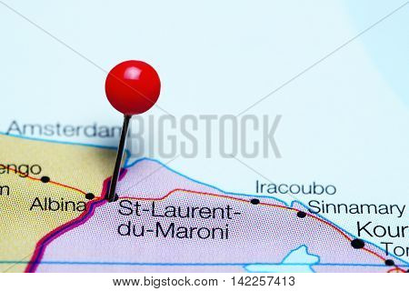 St-Laurent-du-Maroni pinned on a map of French Guiana