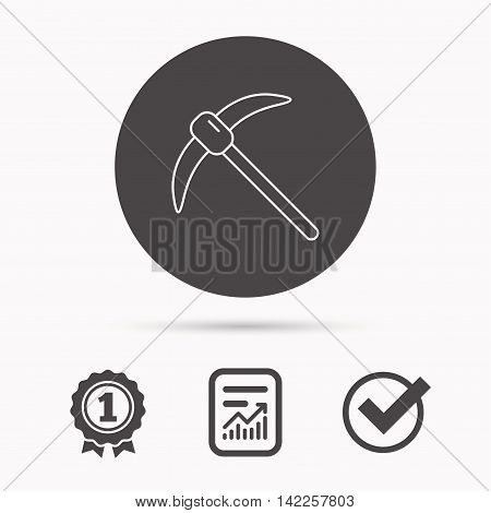 Mining tool icon. Pickaxe equipment sign. Minerals industry symbol. Report document, winner award and tick. Round circle button with icon. Vector