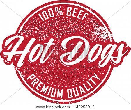 Vintage Beef Hot Dog Menu Stamp