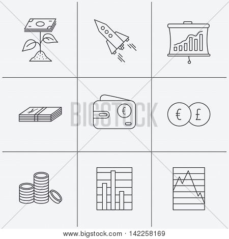 Profit investment, cash money and startup rocket icons. Wallet, currency exchange and euro linear signs. Chart, coins and statistics icons. Linear icons on white background. Vector