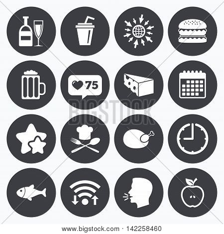 Calendar, wifi and clock symbols. Like counter, stars symbols. Food, drink icons. Beer, fish and burger signs. Chicken, cheese and apple symbols. Talking head, go to web symbols. Vector
