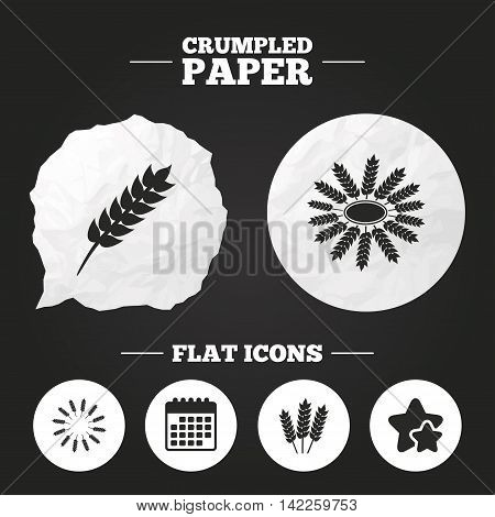 Crumpled paper speech bubble. Agricultural icons. Gluten free or No gluten signs. Wreath of Wheat corn symbol. Paper button. Vector