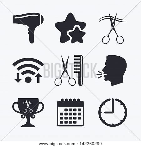 Hairdresser icons. Scissors cut hair symbol. Comb hair with hairdryer symbol. Barbershop winner award cup. Wifi internet, favorite stars, calendar and clock. Talking head. Vector