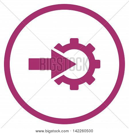Cog Integration vector icon. Style is flat rounded iconic symbol, cog integration icon is drawn with purple color on a white background.