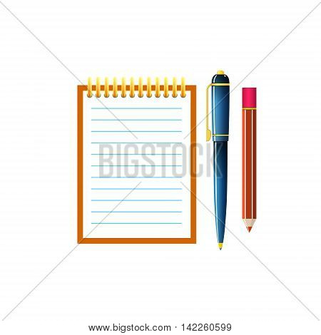 Notebook with a Pen and Pencil ,Jotter Isolated on White Background, Office Equipment ,Vector Illustration