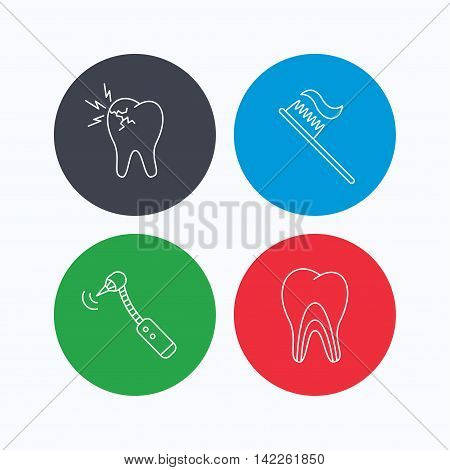Toothache, drilling tool and toothbrush icons. Dentinal tubules linear sign. Linear icons on colored buttons. Flat web symbols. Vector
