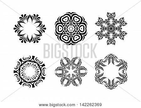 Set Of  Arabic Mandala On White Background
