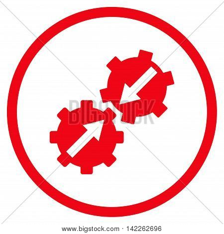 Gear Integration vector icon. Style is flat rounded iconic symbol, gear integration icon is drawn with red color on a white background.