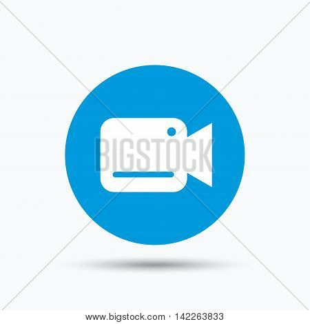Video camera icon. Film recording cam symbol. Security monitoring. Blue circle button with flat web icon. Vector