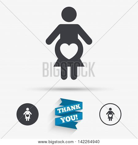 Pregnant sign icon. Women Pregnancy symbol. Flat icons. Buttons with icons. Thank you ribbon. Vector