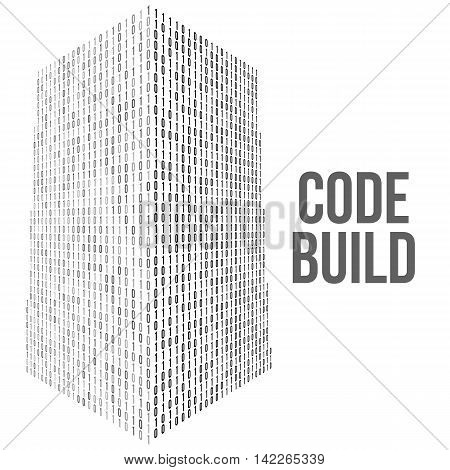 Skyscrapers code. Binary digital form of futuristic city building. Vector llustration of matrix abstract 3d tech background. Web developer coding concept isolated on white