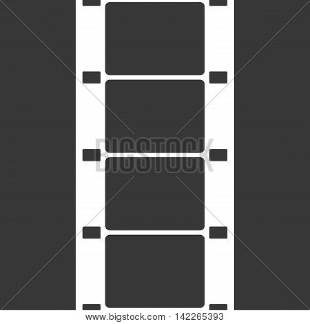 Vector 16 mm Film Strip Illustration on black background. Abstract Film Strip design template. Film Strip Seamless Pattern.