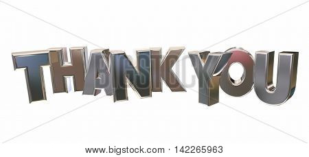 Thank You Appreciation Recognition Word Letters 3d Illustration